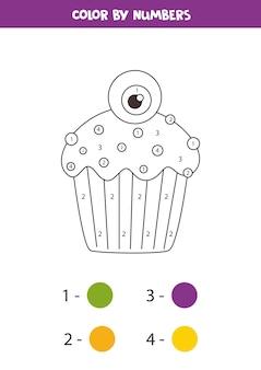 数字でかわいいハロウィンのカップケーキを色分けします。子供のための教育数学ゲーム。未就学児のための塗り絵。