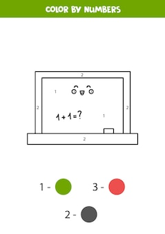 숫자로 귀여운 귀여운 칠판을 색칠하세요. 아이들을 위한 워크시트.
