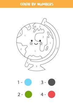 Раскрасьте милый земной шар каваи по номерам. рабочий лист для детей.