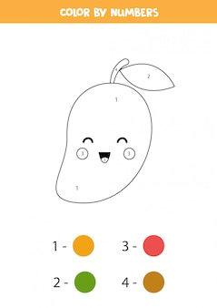 Color cute kawaii mango by numbers. educational coloring page for preschoolers. learning numbers. home education printable worksheet.