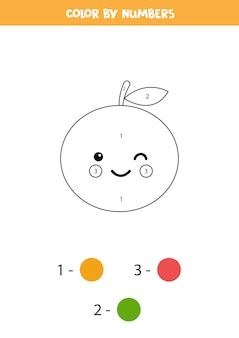 Color cute kawaii orange fruit by numbers.
