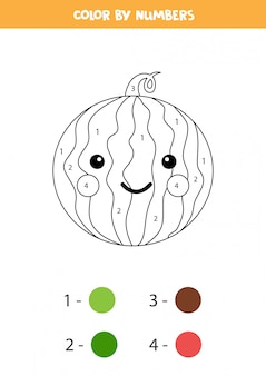 Color cute kawaii watermelon by numbers. educational math game for kids. funny coloring page. printable worksheet for class or home.