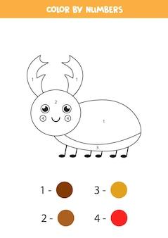 かわいいクワガタムシを数字で彩ります。就学前の子供のための教育的な着色のページ。