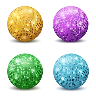 Color disco balls. realistic reflection ball mirrored disco party silver glitter equipment retro rays mirrorball set
