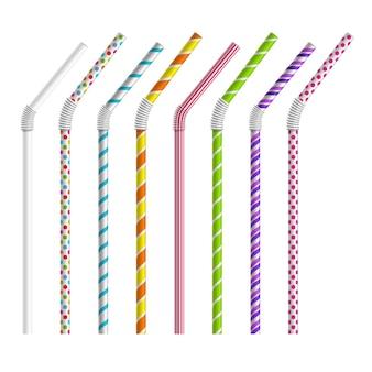 Набор цветных соломинок. трубка и труба, объект красочный, полосы и изгиб