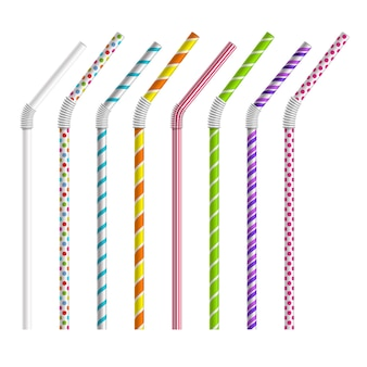 Color drinking straws  set. tube and pipe, object colorful, stripe and bend
