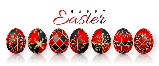 イースターエッグの色蜜蝋による赤と黒の卵の絵の具。