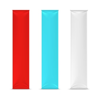 Color empty vertical advertising banner flags
