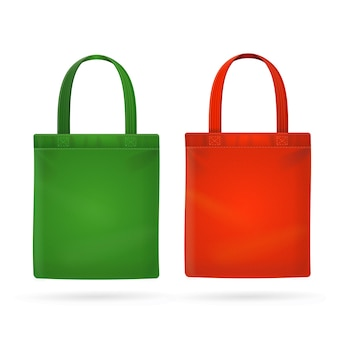 Color fabric cloth bag tote isolated on white
