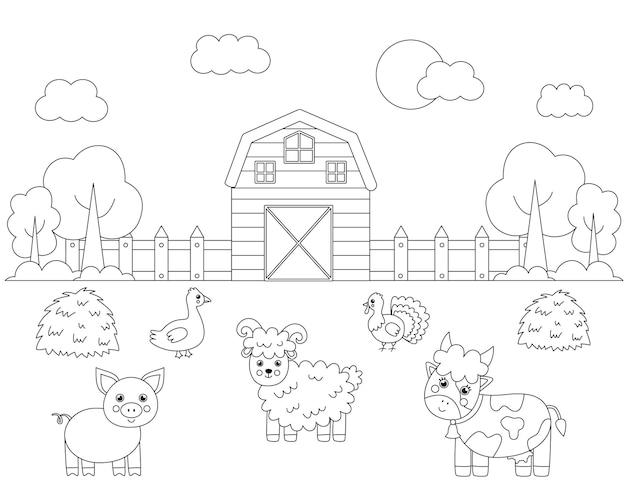 Цветной пейзаж фермы с милыми животными. развивающая раскраска для детей.