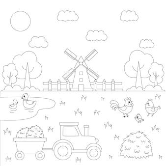 귀여운 동물들과 함께 색상 농장 풍경입니다. 아이들을위한 교육용 색칠 공부 페이지.