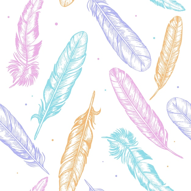 Color feathers hand draw sketch boho or ethnic style background pattern.