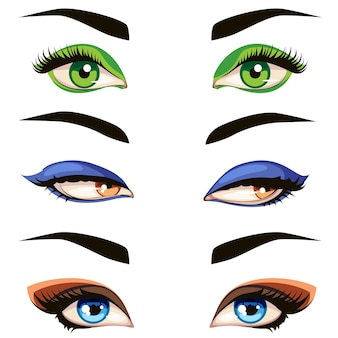 Color female eye set.   hand drawn  illustration