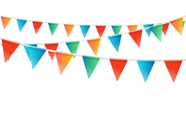Color flags garland illustration