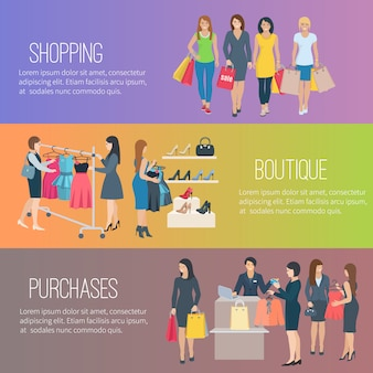 Color flat horizontal banners with text showing woman shopping in boutique