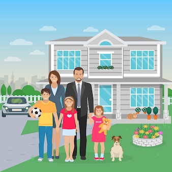 Color flat illustration big happy family with dog in the yard