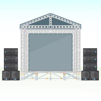 Цветная плоская секционная концертная металлическая сцена с акустической системой