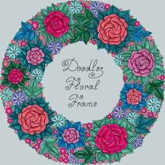 Color floral frame pattern
