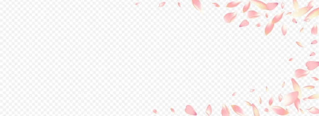 カラー花ベクトルパノラマ透明背景。ツリーガーデンイラスト。ピーチオーバーレイパターン。アップルフライおめでとうございます。赤いさくら日本のバナー。