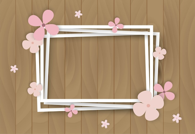Color flowers on wooden frame