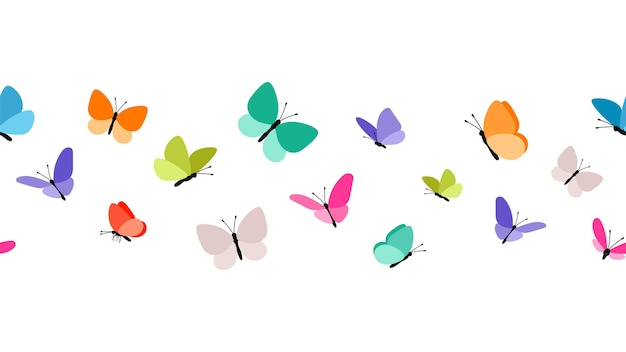 Color flying butterflies seamless pattern.