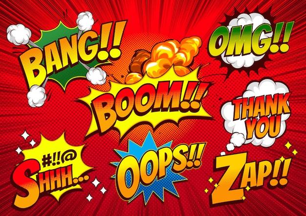 Цветной шрифт в стиле комиксов, скорость линии и пузыри.