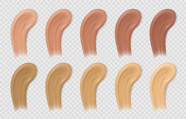 Color foundation smudges. liquid beige and brown concealer tone strokes. realistic cosmetic cream base swatches. makeup samples vector set. illustration smudge base foundation, concealer smear brown
