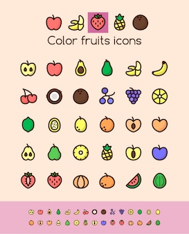 Color fruits icons