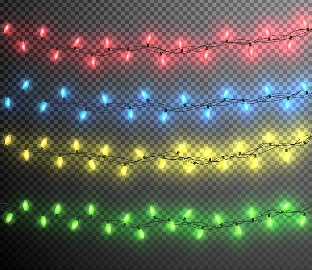 Цветная гирлянда, праздничные украшения. светящиеся рождественские огни, изолированные на прозрачном фоне.