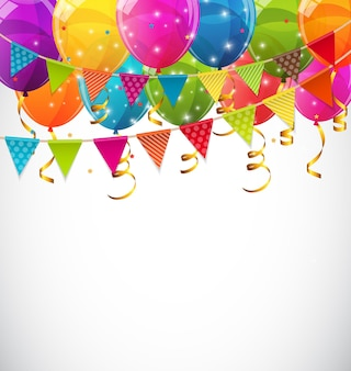 色光沢のある風船とパーティーフラグ背景ベクトルイラストeps10