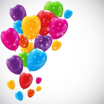 色の光沢のある風船の背景図。