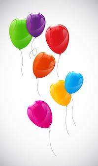 色光沢のある風船の背景ベクトル図。 eps10