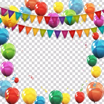 Color glossy balloons and confetti on transparent checked background