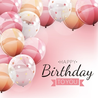 Color glossy balloons happy birthday background