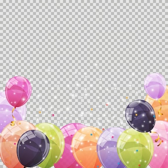 Color glossy balloons transparent background  illustration