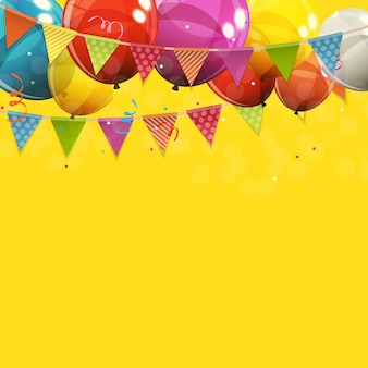 Color glossy happy birthday balloons  background  illustration
