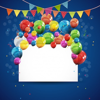 Color glossy happy birthday balloons background vector illustration