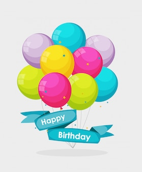Color glossy happy birthday balloons banner background  il