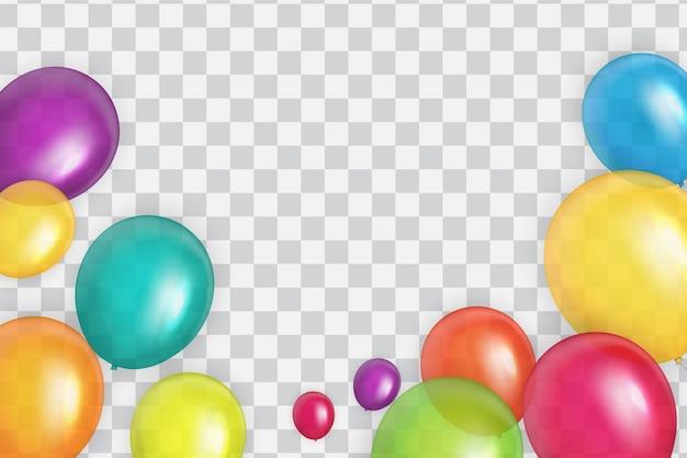 색상 광택 생일 풍선 배너 배경 일러스트 레이션