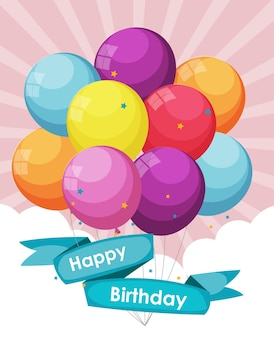 Color glossy happy birthday balloons banner background vector il