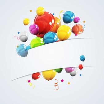색상 광택 생일 풍선 배너 배경