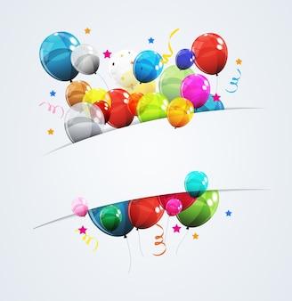 Цвет глянцевый с днем рождения шары баннер фон