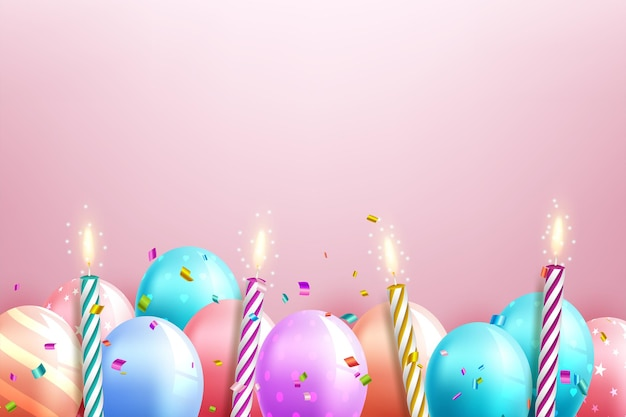 Color glossy happy birthday balloons banner background