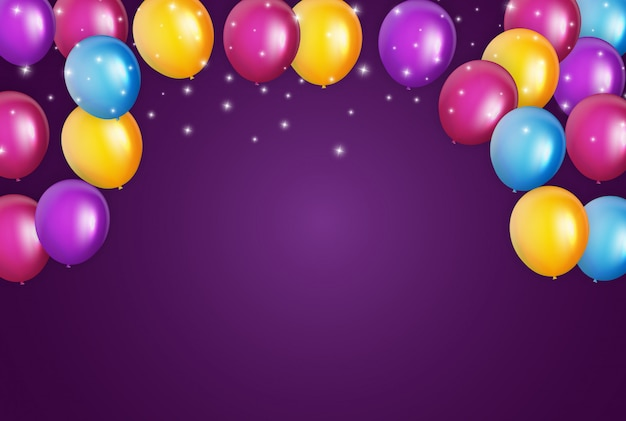 Color glossy happy birthday balloons banner   illustration