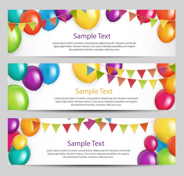 Color glossy happy birthday balloons banner set