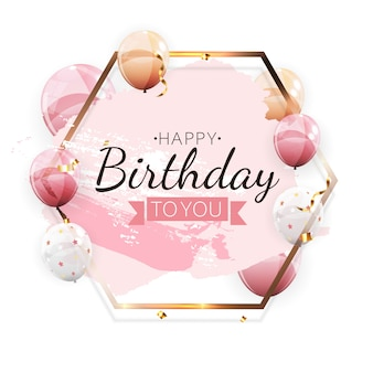 Color glossy happy birthday balloons greeting card