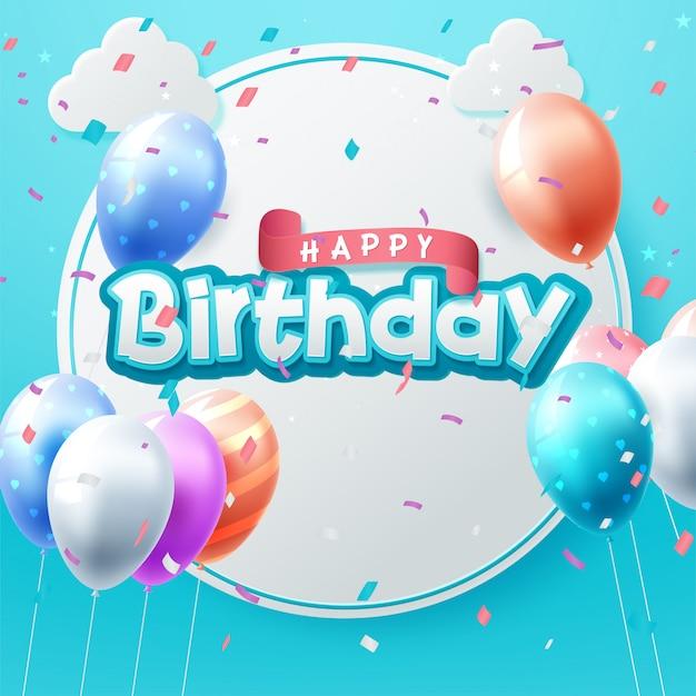 Цветные глянцевые воздушные шары с днем рождения