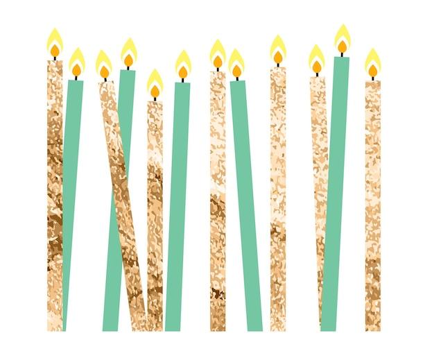 Цвет глянцевый с днем рождения свечи векторные иллюстрации eps10