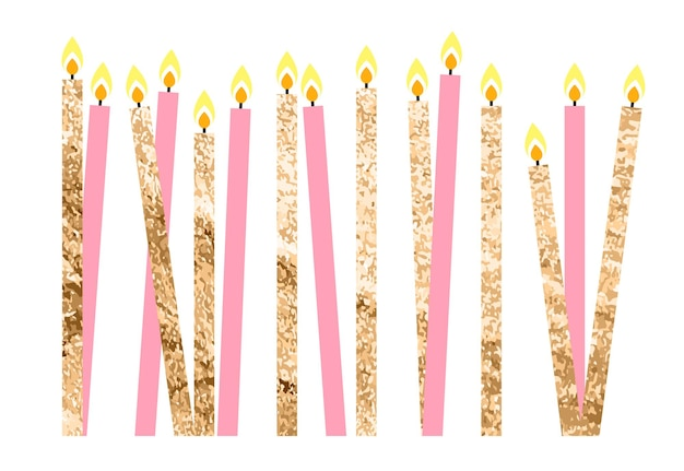 Color glossy happy birthday candles vector illustration eps10