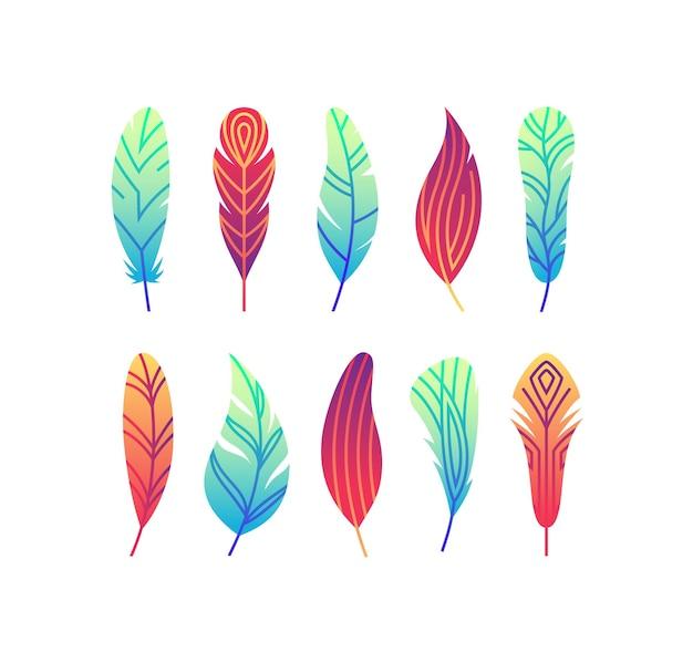 色のグラデーションの抽象的な羽のセット。明るいモノラインシンボル。